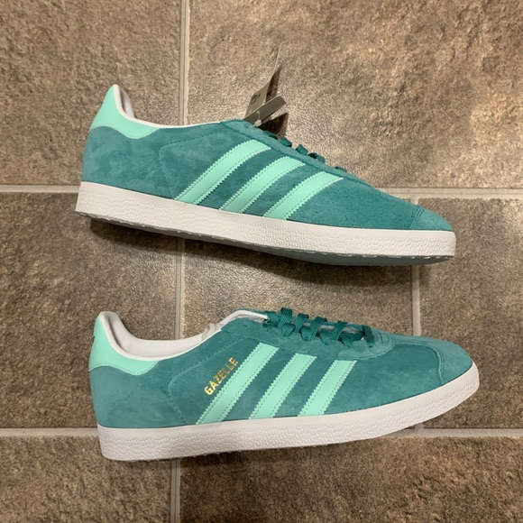 Adidas Gazelle Turquoise Mint Green White Sneakers
